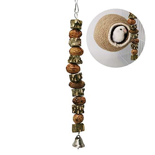 MayuMay Wellensittich Spielzeug, Natur Vogelspielzeug Holz, natürliches tachelige esche und nuss, Kauen Zubehör Entlastengelangweilt