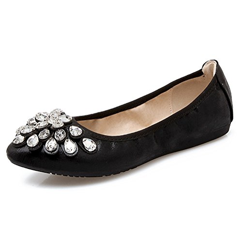 Meeshine Womens Foldable Soft Pointed Toe Ballet Flats Rhinestone Comfort Slip on Flat Shoes