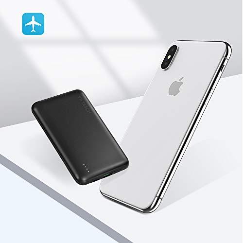 YWTESCH Batería Externa 10000mAh, Cargador Portátil 159g, Salida USB-A/Type-C PD y Entrada Type C, con 2 Cable, Aleación de Aluminio, Powerbank para iPhone/iPad/Android (Negro)