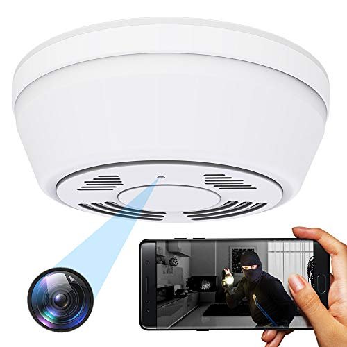 Hidden Camera WiFi Dummy Smoke Detector,FUVISION Spy Camera Wireless Hidden,Nanny Cams Wireless with Cell Phone App,Live View,Night Vision,Motion Detect,Bottom View Nanny Camera for Home and Office