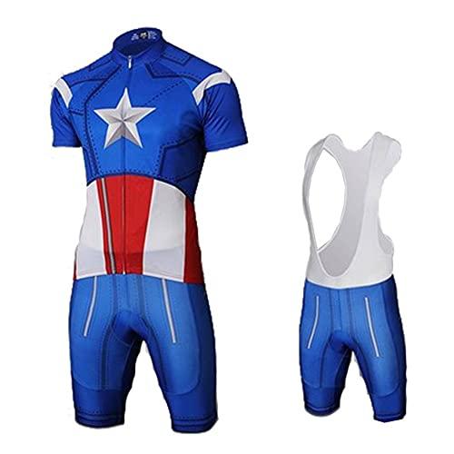 Towel Rings Capitano America Abbigliamento Ciclismo Uomo Bici MTB Maglia Ciclismo Biciclette da Strada Maniche Corte Abbigliamento Camicia Traspirante Ad Asciugatura Rapida+Pantaloncini