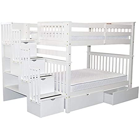 Amazon Com Bedz King Stairway Bunk Beds Full Over Full With 4 Drawers In The Steps And 2 Under Bed Drawers White Furniture Decor