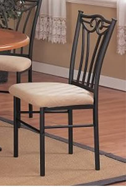 2 Two Decorative Black Metal Dining Chairs With Padded Seats