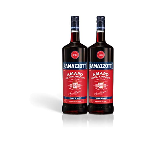 Ramazzotti Amaro Kräuterlikör 2er Set, Schnaps, Spirituose, Italienischer Likör, Alkohol, Flasche, 30%, 2 x 1.5 L