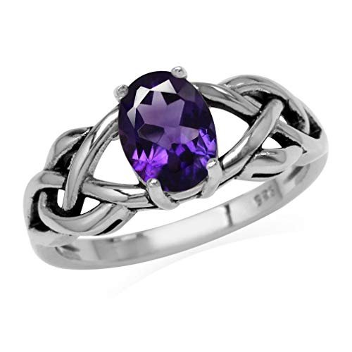 Silvershake 1.18ct. Natural African Amethyst 925 Sterling Silver Celtic Knot Solitaire Ring Size 5