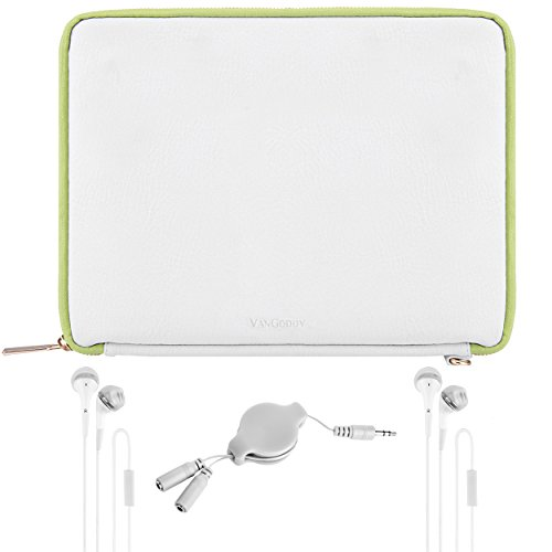 VanGoddy Slim Modern White/Green PU Leather Cover Sleeve Case + 2 Sets of Earbuds & Splitter for Acer Iconia One 7 / Iconia One 8