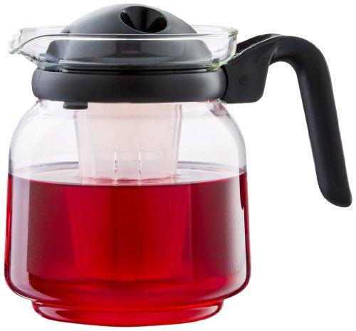Boral 46061 Glaskanne Venecia 1,5 Liter mikrowellengeeignet mit Teefilter-Einsatz, schwarz
