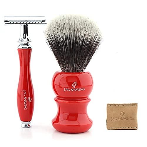 Set de afeitado tradicional para hombres con doble cuchilla y maquinilla de afeitar – Bonito diseño de 3 piezas para hombres