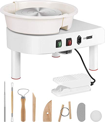 VIVOHOME 25CM Pottery Wheel Forming Machine 350W Electric DIY Clay Tool with Foot Pedal and Detachable Basin for Ceramic Work Art Craft White