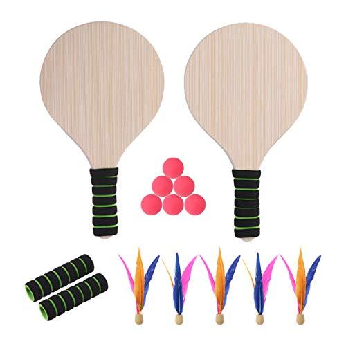 Wakauto Gioco di Paddle Ball Gioco di Beach Paddle Ball Cricket Badminton Beach Tennis Pingpong Racchette di Legno Set Gioco di Racchette Indoor Gioco di Cortile per Adulti Bambini