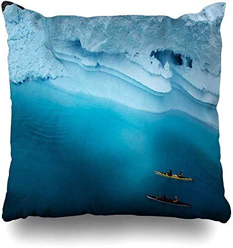 Doble Cojines Fundas 18' Kayak Azul Ártico Deporte Extremo Aventura Antártida Hielo Kayak Remar Recreación Red Expedition Funda de Almohada Suave para la Piel