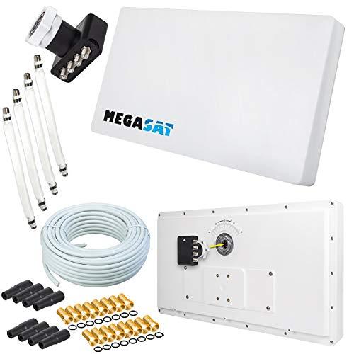 netshop 25 Set: Megasat Flachantenne Profi Line H30 D4 Quad inkl. Fensterhalterung + 50m Kabel + 4X Fensterdurchführung. Neueste Generation mit besten Empfangswerten für HD und SD TV