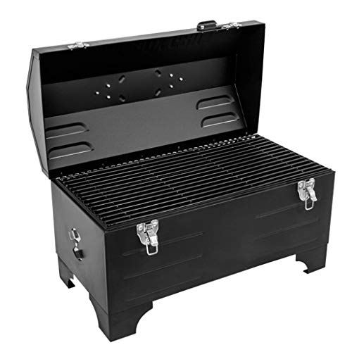 KYEEY Car Charcoal Grill Large Capacity, Portable Toolbox Grill, Suitable for Outdoor Cooking Picnic 49.5 X24.5 X31.5 cm Black Without Installation