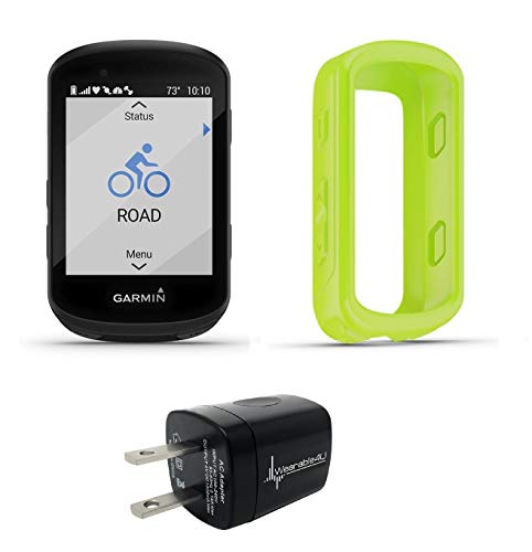 Garmin Edge 830 GPS Cycling Computer with Included Original Garmin Silicone Case and Wearable4U Wall Charging Adapter Bundle