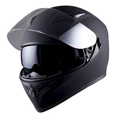 1STorm Motorcycle Street Bike Dual Visor/Sun Visor Full Face Helmet Mechanic Matt Black, Size Small(53-54 CM,20.9/21.3 Inch)
