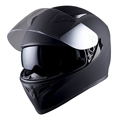 1STorm Motorcycle Street Bike Dual Visor/Sun Visor Full Face Helmet Mechanic Matt Black, Size Small(53-54 CM,20.9/21.3 Inch)