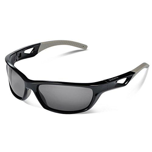 Duduma Gafas de Sol Deportivas Polarizadas Para Hombre Perfectas Para Esquiar Golf Correr Ciclismo TR821 Súper Liviana Para Hombre y Para Mujer (marco negro con lente negro)