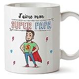 Mugffins Papa Tasse/Mug - J'aime Mon Super Papa - Tasse Originale/Idee Fête des Pères/Cadeau Anniversaire/Future Papa. Céramique 350 ML