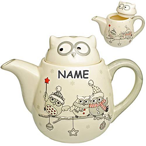 3D Design - Teekanne / Kaffeekanne - lustige Eulen im Winter - inkl. Name - mit Deckel & Henkel - 1 Liter - weiß edel - stabil aus Porzellan / Keramik - Kaffe..