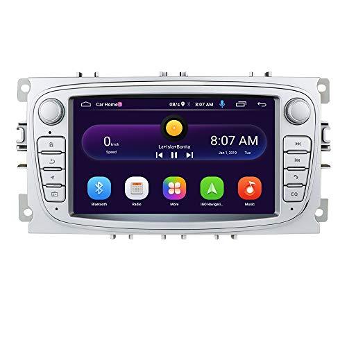 Android 10 OS 7 Pulgadas 2 DIN Car Radio Moniceiver GPS Navegación Bluetooth para Ford C-MAX/Connect/Fiesta/Focus/Fusion/Galaxy/Kuga S-MAX/Transit/Mondeo (Plata)