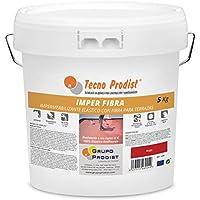 IMPER FIBRA de Tecno Prodist - 5 Kg (ROJO) Pintura Impermeabilizante elástica para Terrazas con Fibras Incorporadas - Buena Calidad - (A Rodillo o brocha, disponible en color rojo o blanco)