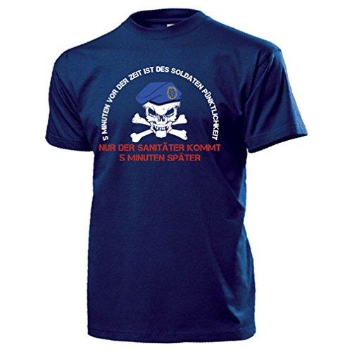 Der Sani kommt später BW Sanitäter Humor Fun Barett Soldat Spruch T-Shirt #15441, Größe:XXL Herren, Farbe:Dunkelblau