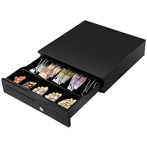 COSTWAY Kassenlade Kassenschublade Geldlade Geldschublade Metalllade Geldbox, 5 Münzfächer, 5 Scheinfächer 40,5x42X9cm