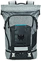 """Predator Gaming Rolltop Zaino per Notebook 15.6"""" con Doppio Accesso, Tasche per Alimentazione e Tessuto Resistente, Grigio"""