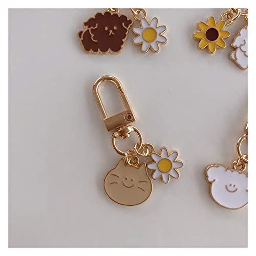 Cadena de llavero for las mujeres de dibujos animados anillo dominante lindo del perrito del gato llavero Sun Flower lindo Titular dominante del encanto de la baratija de moda bolsa de regalo pendient