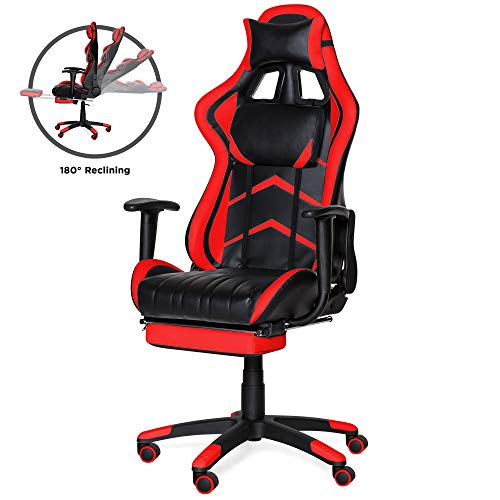 Best Choice Products Ergonomic High Back Executive Office Computer Racing Gaming Chair w/ 360-Degree Swivel, 180-Degree Reclining, Footrest, Adjustable Armrests, Headrest, Lumbar Support, Red