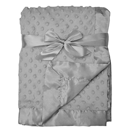 American Baby Company Heavenly Soft Chenille Minky Dot Receiving Blanket, Gray, 30' x 40', for Boys and Girls