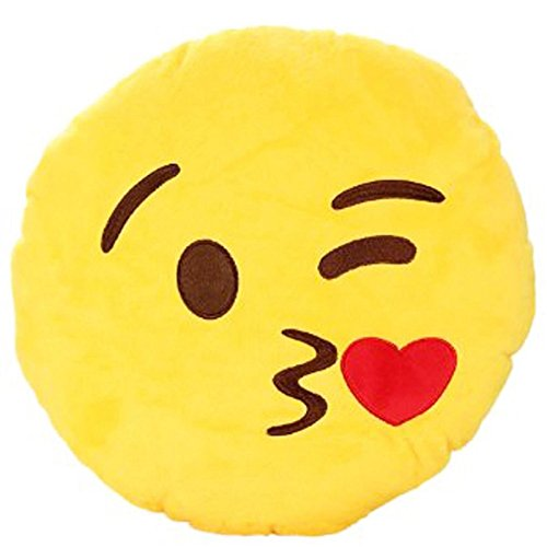 S.D.Maket Emoji Smiley Emoticon Kissen Polster Dekokissen Küssen Stuhlkissen Sitzkissen (süß Kuß)