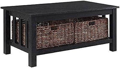 Amazon Com Premium Low Wooden Woodgrain Coffee Table With 3