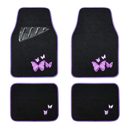 August Auto Universal Fit Butterfly Set of 4pcs Carpet Car Floor Mats with Heelpad Fit for Sedan, SUVs, Truck, Vans
