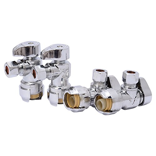 SharkBite Fitting, Water 23036LFA4 Compression Angle Stop Valve, 1/2 Inch x 3/8 Inch, Push-to-Connect, PEX, Copper, CPVC, PE-RT, 4 Pack, 4-Pack 1/2 x 3/8