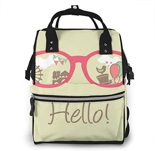 UUwant Sac à Dos à Couches pour Maman Large Capacity Diaper Backpack Travel Manager Baby Care Replacement Bag Nappy Bags Mummy Backpack,(Hello