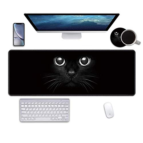 """Desk Pad Mat Gaming Mouse Pads with Coasters, 31.5""""x11.8"""" Large XXL Non-Slip Rubber Base Mousepad with Stitched Edges for Work & Gaming, Office & Home (Cute Black Cat Face)"""