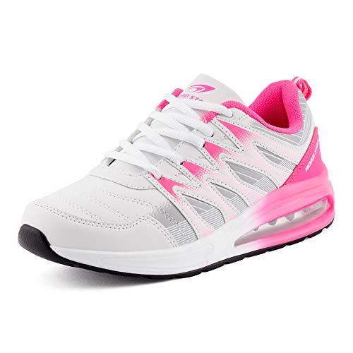 Fusskleidung Herren Damen Sportschuhe Sneaker Dämpfung Laufschuhe Übergröße Neon Jogging Gym Unisex Weiß Grau Pink EU 36