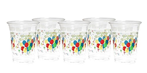 Party Essentials N162008 Soft Plastic Printed Party Cups, 20 Count, 16-Ounce, Happy
