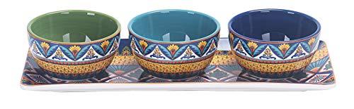 Bico Havana Ceramic Dipping Bowl Set (13oz bowls with 14 inch platter), for Sauce, Nachos, Snacks, Microwave & Dishwasher Safe