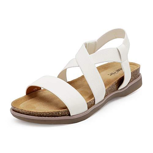 DREAM PAIRS Women's White Open Toe Elastic Strap Flat Sandals Size 8 M US Kana
