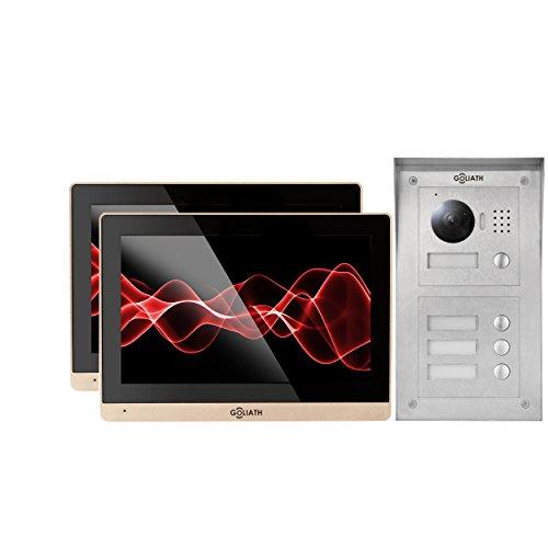 GOLIATH IP Video Türsprechanlage 2 Monitore, Aufputz Türstation, Edelstahl, HD Kamera, App mit Türöffner-Funktion, Fernzugriff, Video-Speicher, 2 Familienhaus Set, AV-VTC146