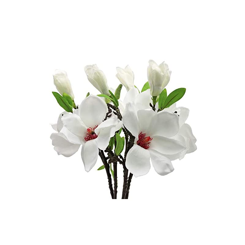 silk flower arrangements minyulua 5pcs artificial magnolia flowers silk white magnolia flowers realistic silk flower bouquet for home table store floral arrangements wedding holidays party decor