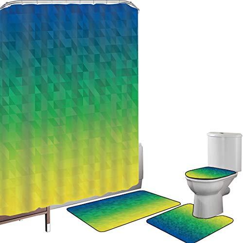 Duschvorhang Set Badezimmerzubehör Teppich Gelb & blau Badematte Contour Teppich Teppichbezug Ombre inspirierte abstrakte Fractal-Mosaik-Form in Brasilien-Flagge färbt dekoratives,blaues Grün-Gelb R