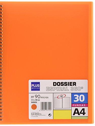 Plus Office 13461-30-OR - Carpeta dossier con 30 fundas y espiral, naranja