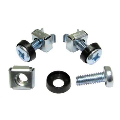 Cage Nuts and Screws for 19 Rack Mount Size M6 Black !!Pack of 50!!