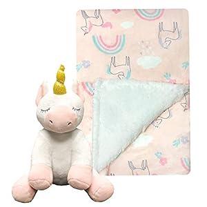 MODERN BABY Super Soft Unicorn Baby Blanket Set with Stuffed Plush Toy Newborn to Toddler Plush Blanket Gift Set