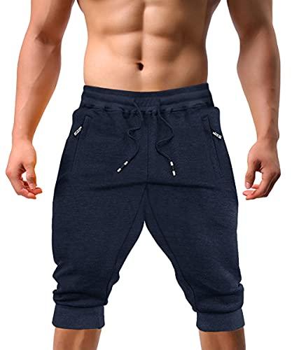 KEFITEVD Short de Sport 3/4 pour Homme Pantalon de Course Respirant Pantalon Court de Jogging avec Poches à Fermeture éclair Bleu Marine