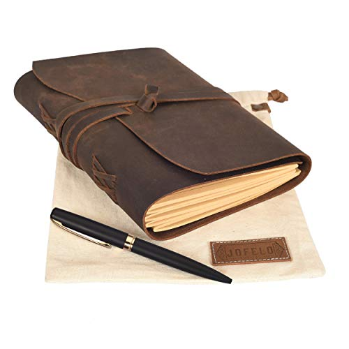 Leather Journal Lined Paper Gift Set -Large 7 x 9 Refillable Journal for Men Women, Leather Bound Notebook, Jofelo Handmade Vintage Writing Notebook, Travel Diary A5 Lined Pages