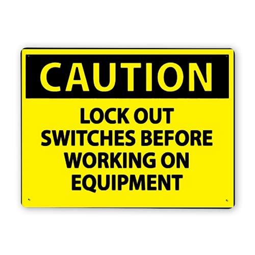 Señal de advertencia, PRECAUCIÓN Bloquee los interruptores antes, Señal de tráfico Señal de tráfico Señal comercial
